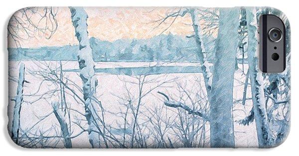 Snow iPhone Cases - Winter Landscape iPhone Case by Jutta Maria Pusl