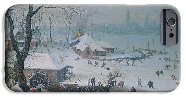 Valckenborch; Lucas Van iPhone Cases - Winter Landscape iPhone Case by Lucas Van Valckenborch