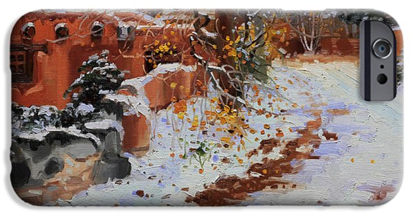 Winter Landscape Paintings iPhone Cases - Winter landscape of Santa Fe iPhone Case by Gary Kim