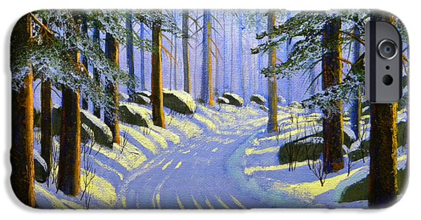 Snowscape Paintings iPhone Cases - Winter landscape Study 1 iPhone Case by Frank Wilson