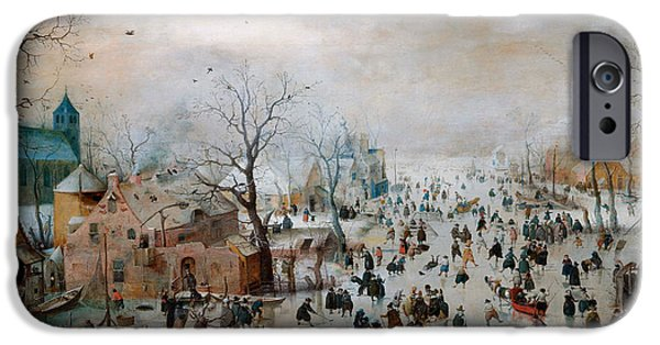Winter Drawings iPhone Cases - Winter landscape with skaters iPhone Case by Celestial Images