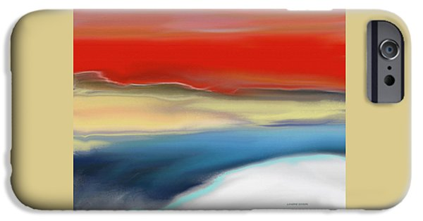 Abstract Digital Paintings iPhone Cases - Winter Landscape with Sunset iPhone Case by Lenore Senior
