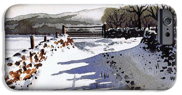 Snow Scenes iPhone Cases - Winter Lane sowood iPhone Case by Paul Dene Marlor