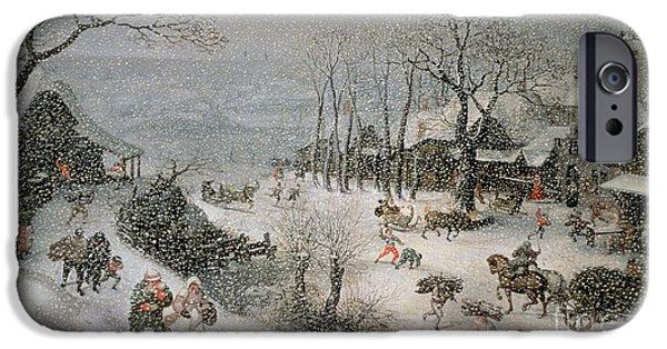 Winter Scenes iPhone Cases - Winter iPhone Case by Lucas van Valckenborch
