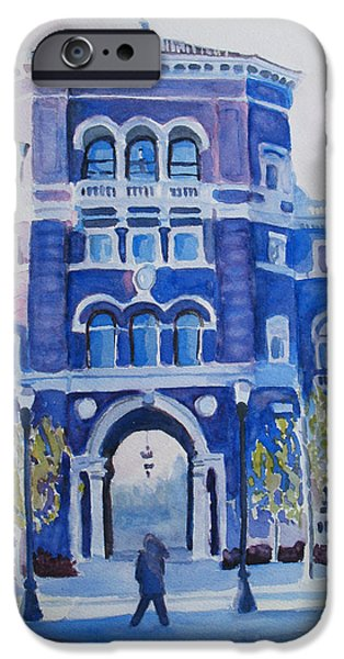 Buildings iPhone Cases - Winter Morning on Campus iPhone Case by Jenny Armitage