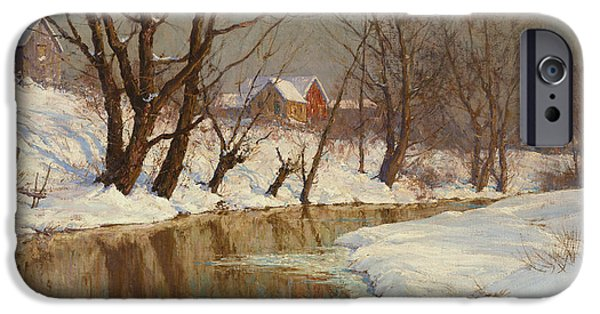Rural Landscapes iPhone Cases - Winter Morning iPhone Case by Walter Launt Palmer