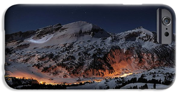 Snowy Night iPhone Cases - Winter Night On The Slopes iPhone Case by Alligator48