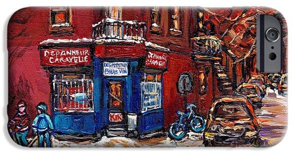 Hockey Paintings iPhone Cases - Winter Night Scene Street Hockey Painting Depanneur Caravelle Rue Dufresne Best Montreal Art Scenes iPhone Case by Carole Spandau