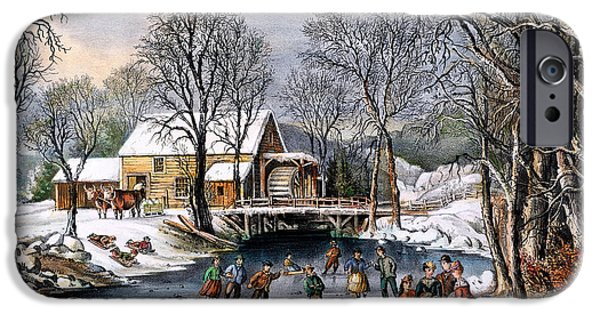 1870 iPhone Cases - Winter Pastime, 1870 iPhone Case by Granger
