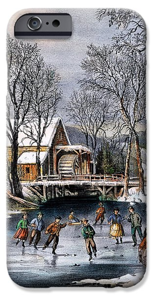 WINTER PASTIME, 1870 iPhone Case by Granger