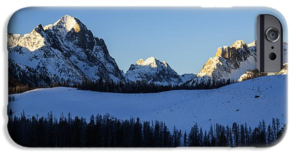 Mountain iPhone Cases - Winter scene along Sawtooth Range in Stanley Idaho USA iPhone Case by Vishwanath Bhat
