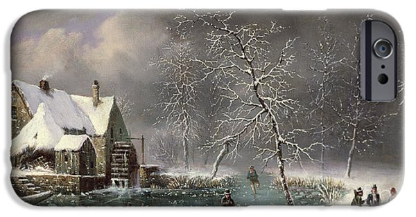 Figures iPhone Cases - Winter Scene iPhone Case by Louis Claude Mallebranche