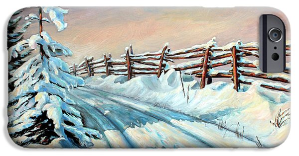 Snow-covered Landscape Paintings iPhone Cases - Winter Snow Tracks iPhone Case by Otto Werner