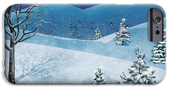 Pines Mixed Media iPhone Cases - Winter Solstice iPhone Case by Bedros Awak