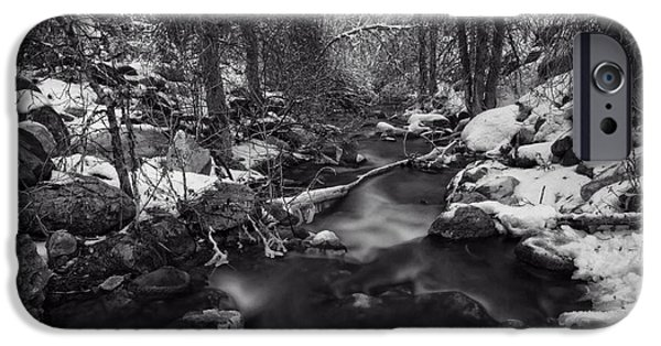 Snowy Brook iPhone Cases - Winter Stream iPhone Case by Daniel Bowman