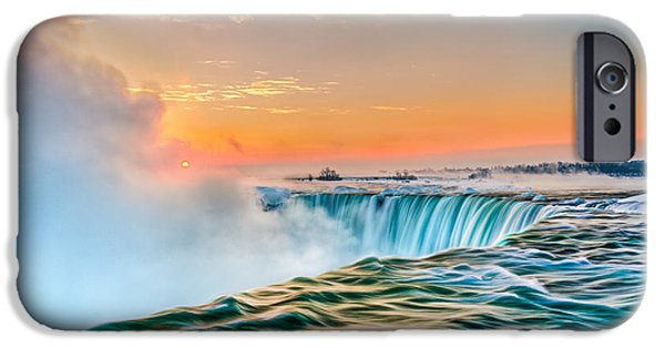 Pastel iPhone Cases - Winter Sunrise Over Niagara Falls  iPhone Case by Trevor Pottelberg