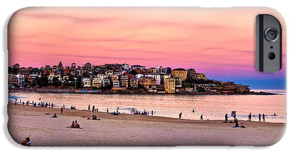 Beach Landscape iPhone Cases - Winter Sunset Over Bondi iPhone Case by Az Jackson