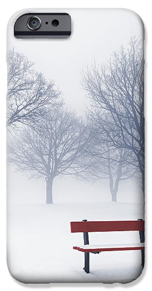 Winter trees and bench in fog iPhone Case by Elena Elisseeva