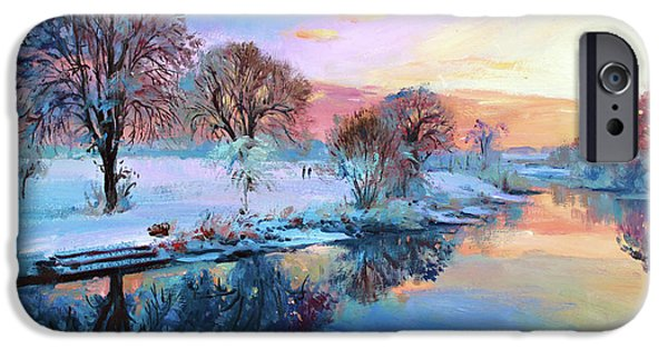 Sun Rays Paintings iPhone Cases - Winter Trees iPhone Case by Conor McGuire