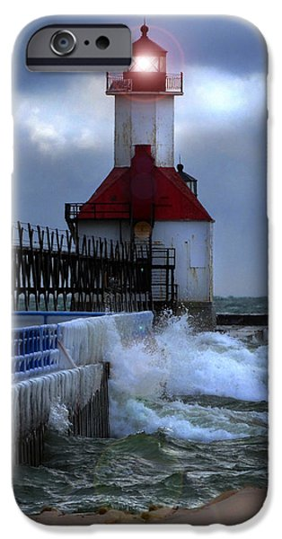 Lighthouse iPhone Cases - Winter Waves at St. Joseph Light iPhone Case by David T Wilkinson