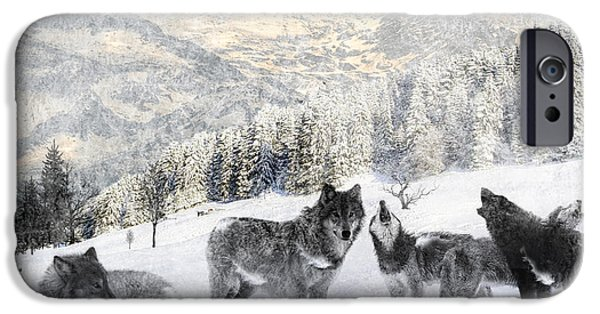 Huskies Digital Art iPhone Cases - Winter Wolves iPhone Case by Lourry Legarde