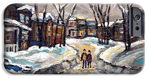 Snowy Day iPhone Cases - Winter Wonderland Painting After The Snowstorm Walking The Snowy Streets Best Original Canadian Art  iPhone Case by Carole Spandau