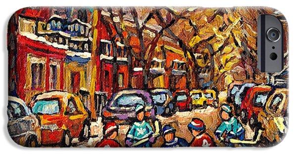 Hockey Paintings iPhone Cases - Winter Wonderland Original Hockey Painting Streets Of Plateau Canadian City Scene Carole Spandau     iPhone Case by Carole Spandau