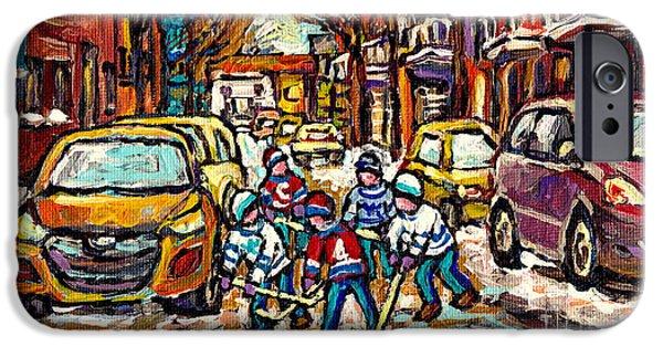 Hockey Paintings iPhone Cases - Winter Wonderland Original Hockey Paintings Streets Of The Pointe Canadian City Scene Carole Spandau iPhone Case by Carole Spandau