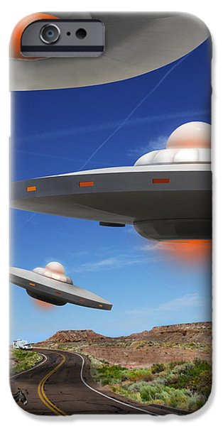 Ufo iPhone Cases - WIP You Never Know What You will See On Route 66 iPhone Case by Mike McGlothlen