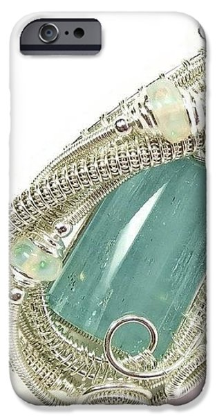 Jordan Jewelry iPhone Cases - Wire-Wrapped Aquamarine Crystal Pendant in Sterling Silver with Ethiopian Opals AQPSS2 iPhone Case by Heather Jordan