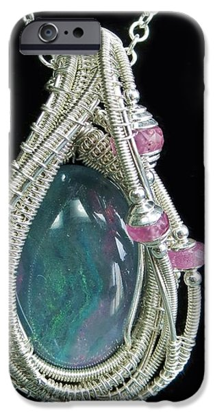 Jordan Jewelry iPhone Cases - Wire-Wrapped Australian Opal Pendant in Sterling Silver with Pink Sapphires ABOPSS2 iPhone Case by Heather Jordan