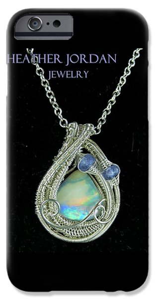 Jordan Jewelry iPhone Cases - Wire-Wrapped Australian Opal Pendant in Sterling Silver with Tanzanite AUOPSS1 iPhone Case by Heather Jordan