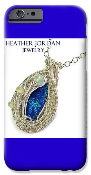 Jordan Jewelry iPhone Cases - Wire-Wrapped Coober Pedy Australian Opal Pendant in Sterling Silver with Ethiopian Opals ABOPSS iPhone Case by Heather Jordan