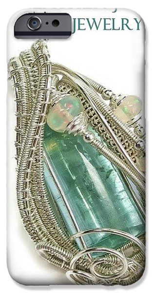 Jordan Jewelry iPhone Cases - Wire-Wrapped Natural Aquamarine Crystal Pendant in Sterling Silver with Ethiopian Opals AQPSS1 iPhone Case by Heather Jordan
