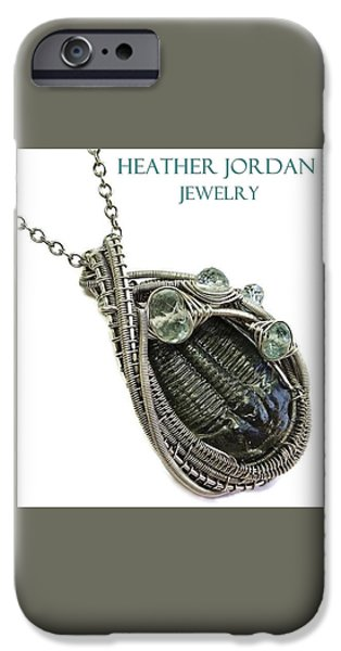 Jordan Jewelry iPhone Cases - Wire-Wrapped Trilobite Fossil Pendant in Antiqued Sterling Silver with Aquamarine TRILSS8 iPhone Case by Heather Jordan