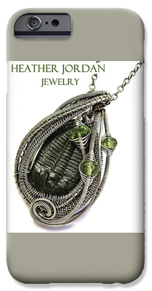 Jordan Jewelry iPhone Cases - Wire-Wrapped Trilobite Fossil Pendant in Antiqued Sterling Silver with Peridot TRILSS9 iPhone Case by Heather Jordan
