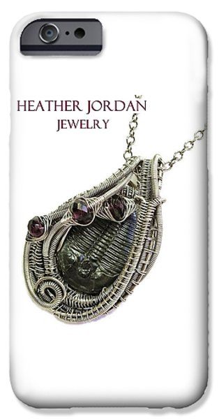 Jordan Jewelry iPhone Cases - Wire-Wrapped Trilobite Fossil Pendant in Antiqued Sterling Silver with Rhodolite Garnet TRILSS7 iPhone Case by Heather Jordan