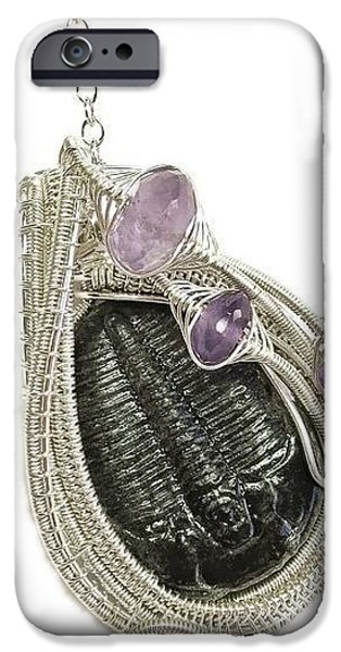 Jordan Jewelry iPhone Cases - Wire-Wrapped Trilobite Fossil Pendant in Sterling Silver with Amethyst TRILSS10 iPhone Case by Heather Jordan
