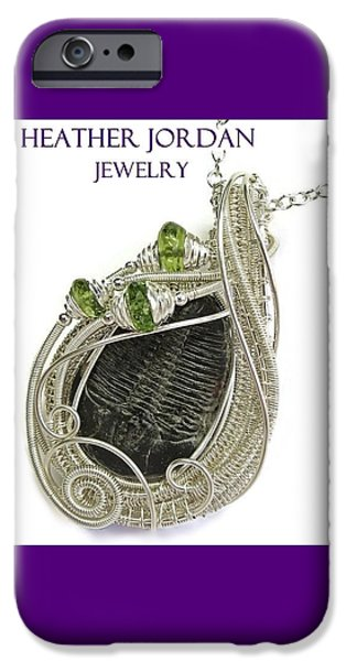 Jordan Jewelry iPhone Cases - Wire-Wrapped Trilobite Fossil Pendant in Sterling Silver with Peridot TRILSS6 iPhone Case by Heather Jordan