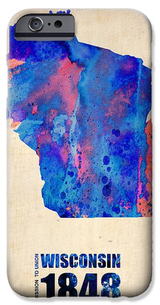 Wisconsin Watercolor Map iPhone Case by Naxart Studio