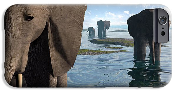Elephants Digital iPhone Cases - Wisdom iPhone Case by Cynthia Decker