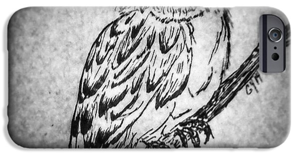 Dark Skies Drawings iPhone Cases - Wise Old Owl iPhone Case by Ginny Youngblood