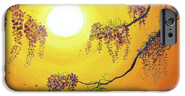 Buddhist Paintings iPhone Cases - Wisteria in Golden Glow iPhone Case by Laura Iverson