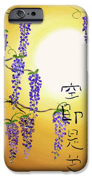Buddhist Paintings iPhone Cases - Wisteria with Heart Sutra iPhone Case by Laura Iverson