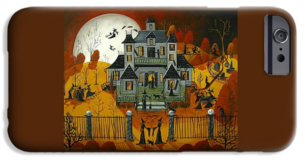 Haunted House iPhone Cases - Witch School - a folkartmama original - folk art iPhone Case by Debbie Criswell