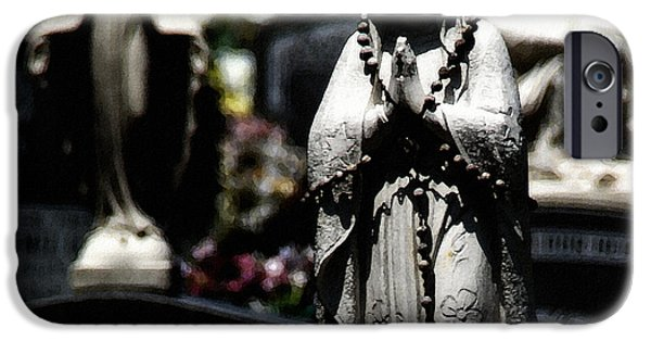 Headstones Digital Art iPhone Cases - With Every Bead A Prayer iPhone Case by Linda Knorr Shafer