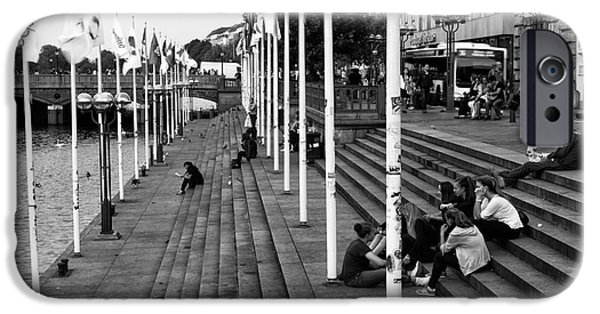 Canal Street Line iPhone Cases - With Friends in Hamburg mono iPhone Case by John Rizzuto