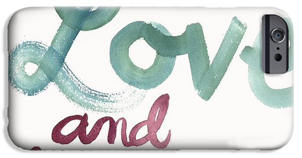 Brush Photographs iPhone Cases - With Love And Laughter Lettering iPhone Case by Gillham Studios