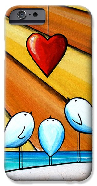 Cute Illustration iPhone Cases - With Love III iPhone Case by Cindy Thornton