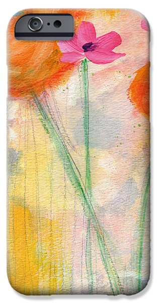 Rose iPhone Cases - With The Breeze- Art by Linda Woods iPhone Case by Linda Woods